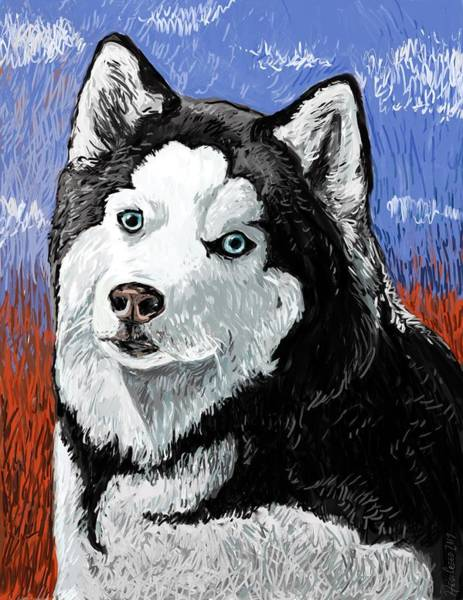 Husky Mixed Media - Husky In Red by Heidi Creed