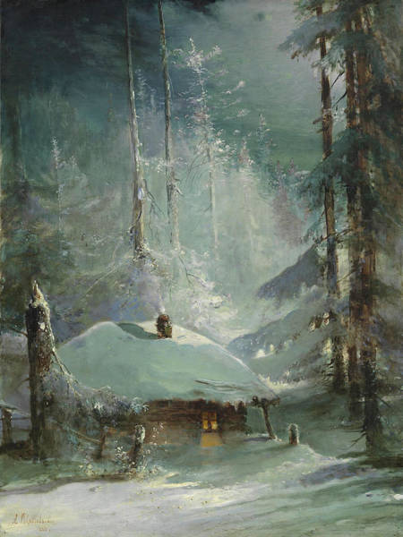 Painting - Hut In A Wintry Forest By Alexei Savrasov 1888 by Alexei Savrasov
