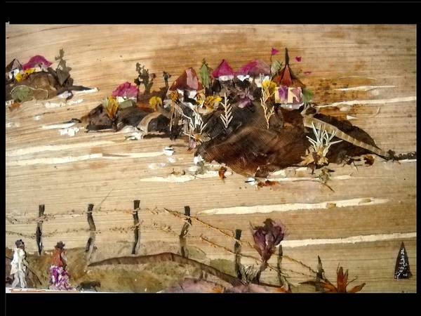 River Scene Mixed Media - Huts And Temples On Hills by Basant Soni