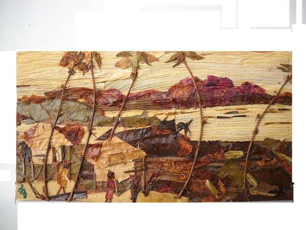 River Scene Mixed Media - Huts During Evening Light by Basant Soni