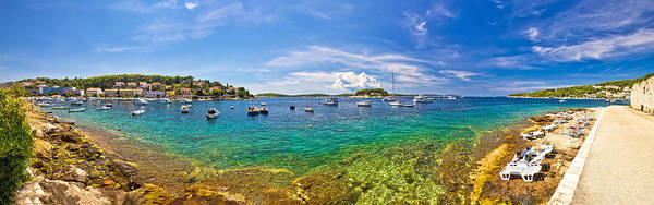Wall Art - Photograph - Hvar Yachting Beach Panoramic View by Brch Photography