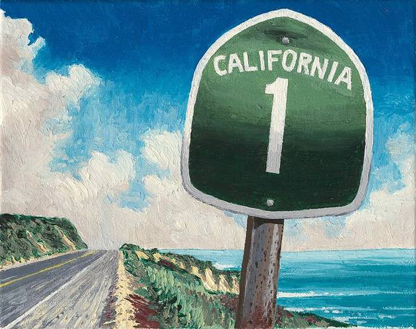 Surfer Painting - Hwy 1 by Andrew Palmer