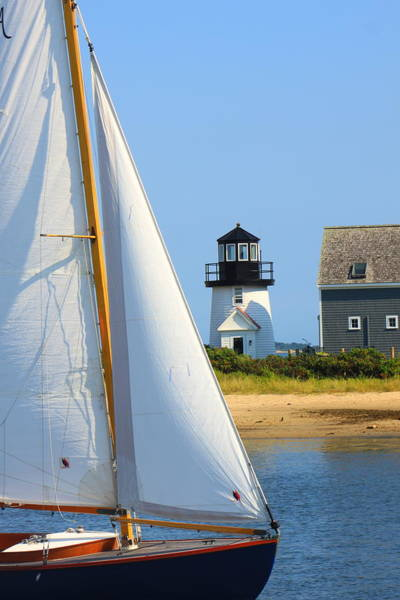 Hyannis Photograph - Hyannis Harbor Lighthouse Sailboat by John Burk