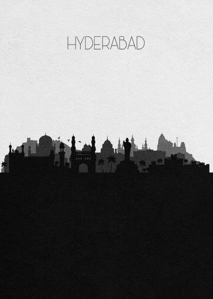 India Drawing - Hyderabad Cityscape Art by Inspirowl Design