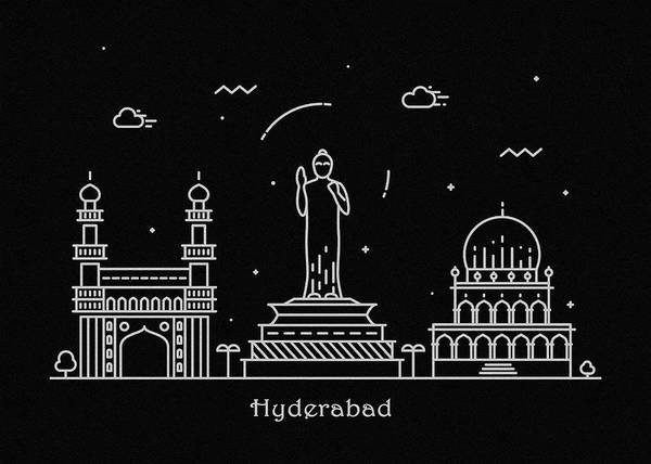 Monument Drawing - Hyderabad Skyline Travel Poster by Inspirowl Design