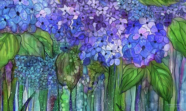 Mixed Media - Hydrangea Bloomies 3 - Blue by Carol Cavalaris