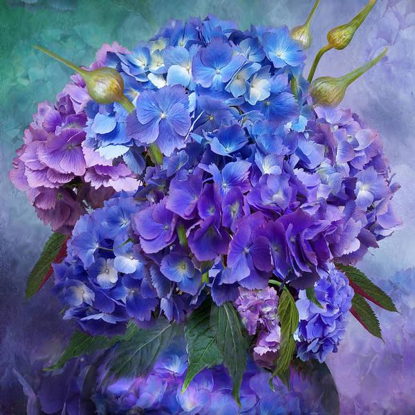 Romantic Mixed Media - Hydrangea Bouquet - Square by Carol Cavalaris