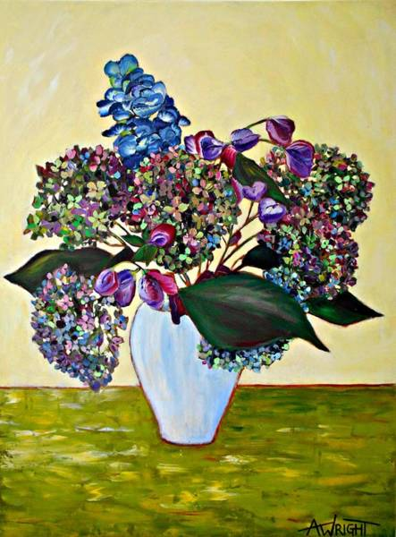 Wall Art - Painting - Hydrangea In A Vase by Angie Wright