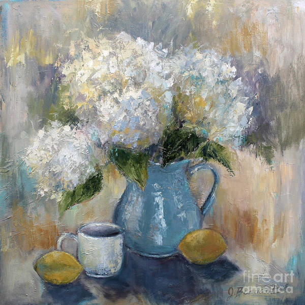 Floral Shower Curtain Painting - Hydrangea Morning by Jennifer Beaudet
