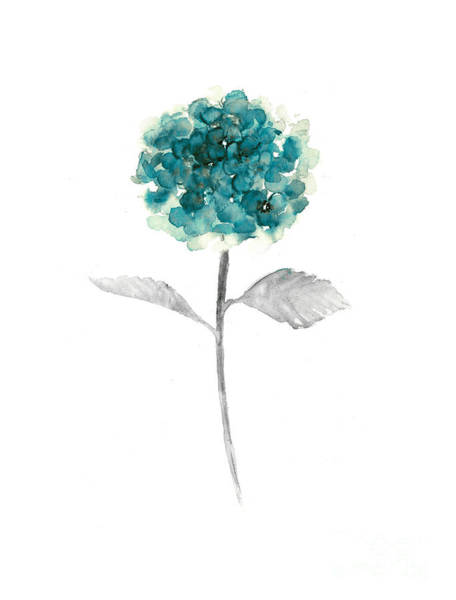 Teal Mixed Media - Hydrangea Nursery Art Print by Joanna Szmerdt