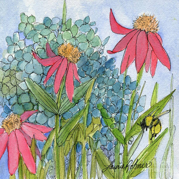 Drawing - Hydrangea With Bee by Laurie Rohner