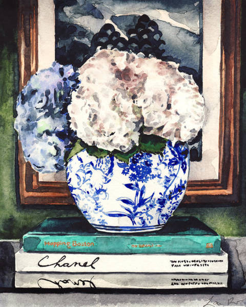 Country Style Painting - Hydrangeas In Blue And White Chinoiserie Melon Vase With Books by Laura Row