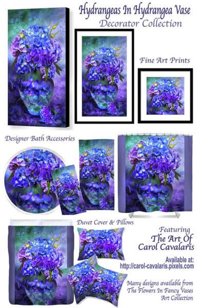 Mixed Media - Hydrangeas In Hydrangea Vase Decorator Colleciton by Carol Cavalaris