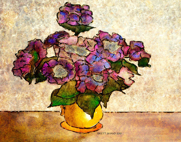 Hydrangeas In Yellow Jug Art Print