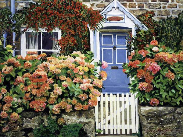 Hydrangeas Rose Cottage Art Print