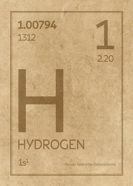 Elements Mixed Media - Hydrogen Element Symbol Periodic Table Series 001 by Design Turnpike