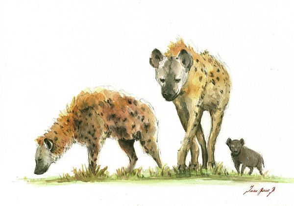 Wall Art - Painting - Hyena Family  by Juan Bosco
