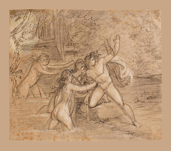 Hyla Wall Art - Drawing - Hylas And The Water Nymphs by Bertel Thorvaldsen