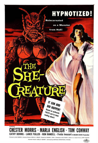 She Painting - Hypnotized She Creature, Vintage Sci Fi, Horror, Movie Poster by Long Shot
