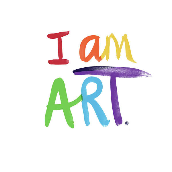 I Am Art Rainbow Script- Art By Linda Woods Art Print