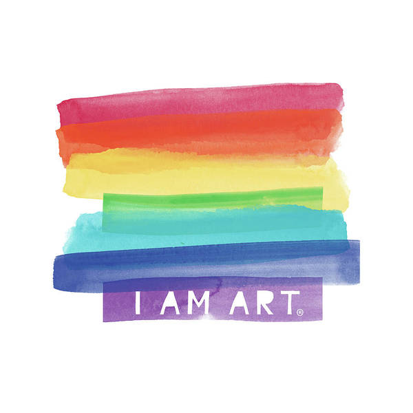 I Am Art Rainbow Stripe- Art By Linda Woods Art Print