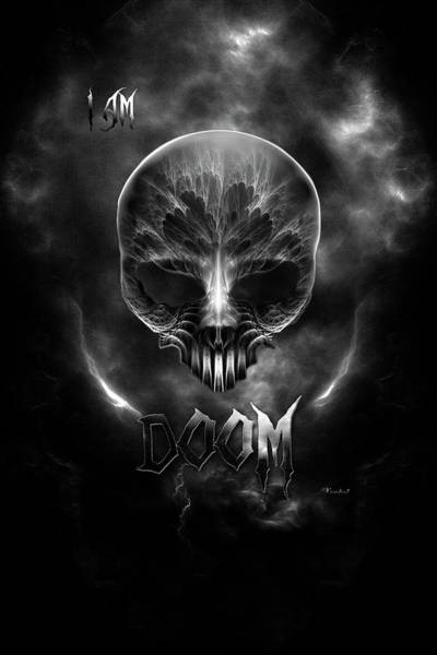Ghoul Digital Art - I Am Doom Fractal Gothic Skull by Xzendor7