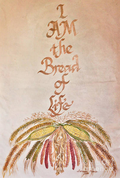Barley Painting - I Am The Bread Of Life by Teresa Marie Staal Cowley