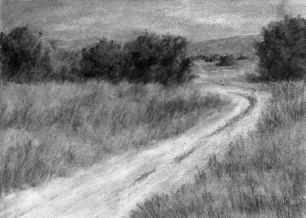 Grass Field Drawing - I Can See For Miles Study by David King