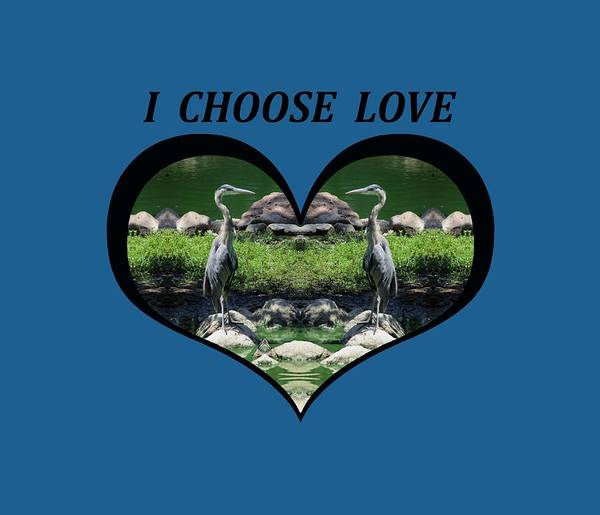 I Chose Love With A Heart Framing Blue Herons Art Print