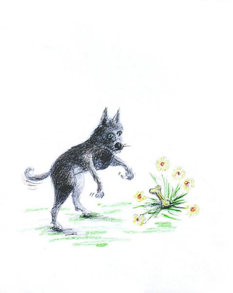 Hund Drawing - I Found A Bone 2 by Anthony Vandyk
