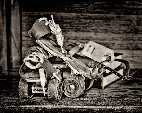 Wall Art - Photograph - I Got A Brand New Pair Of Roller Skates Bw by Heather Applegate