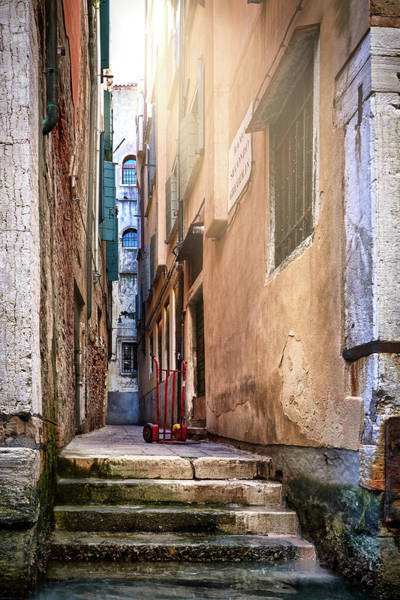 Photograph - I Have Seen Your Trolley Somewhere - Lonely Trolley In A Narrow Alleyway In Venice, Italy by Fine Art Photography Prints By Eduardo Accorinti