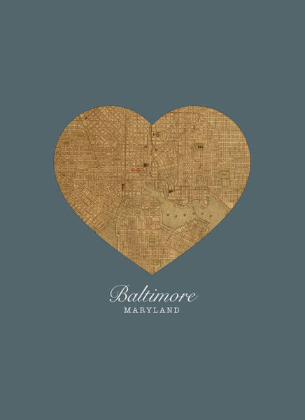 Maryland Mixed Media - I Heart Baltimore Maryland Street Map Love Americana Series No 056 by Design Turnpike