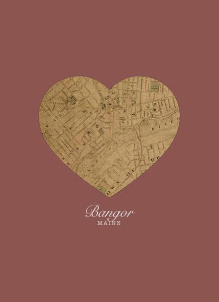 I Heart Bangor Maine Vintage City Street Map Love Americana Series No 045 Art Print