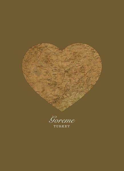 Turkish Mixed Media - I Heart Goreme Turkey Street Map Love Series No 093 by Design Turnpike