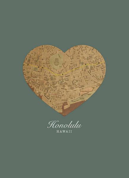 Hawaii Mixed Media - I Heart Honolulu Hawaii Street Map Love Americana Series No 068 by Design Turnpike