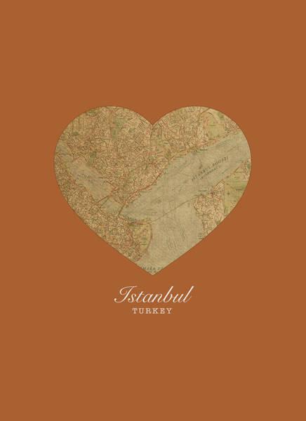 Turkish Mixed Media - I Heart Istanbul Turkey Street Map Love Series No 083 by Design Turnpike