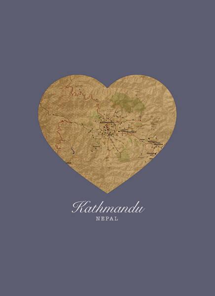 Nepal Wall Art - Mixed Media - I Heart Kathmandu Nepal Street Map Love Series No 098 by Design Turnpike