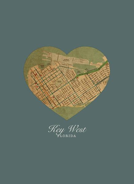 Wall Art - Mixed Media - I Heart Key West Florida Street Map Love Americana Series No 074 by Design Turnpike
