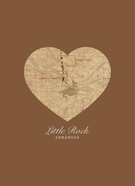 Arkansas Mixed Media - I Heart Little Rock Arkansas Vintage City Street Map Love Americana Series No 036 by Design Turnpike