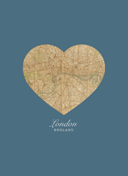 England Mixed Media - I Heart London England Street Map Love Series No 086 by Design Turnpike