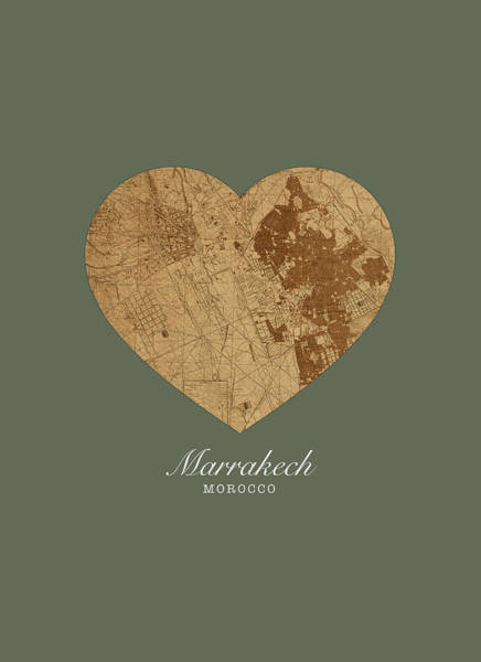Morocco Wall Art - Mixed Media - I Heart Marrakech Morocco Street Map Love Series No 081 by Design Turnpike