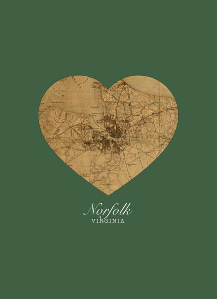 Norfolk Wall Art - Mixed Media - I Heart Norfolk Virginia Street Map Love Americana Series No 064 by Design Turnpike