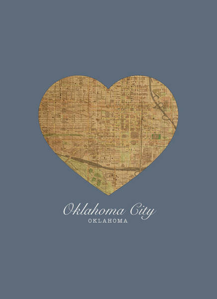 Wall Art - Mixed Media - I Heart Oklahoma City Oklahoma Vintage City Street Map Love Americana Series No 040 by Design Turnpike