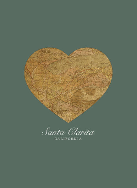 Santa Mixed Media - I Heart Santa Clarita California Street Map Love Series No 127 by Design Turnpike