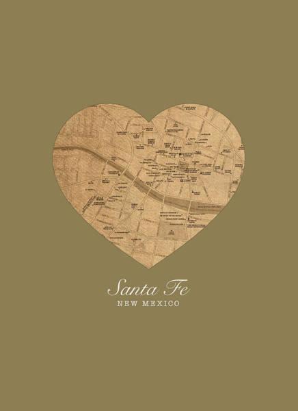 Santa Mixed Media - I Heart Santa Fe New Mexico Vintage City Street Map Americana Series No 027 by Design Turnpike