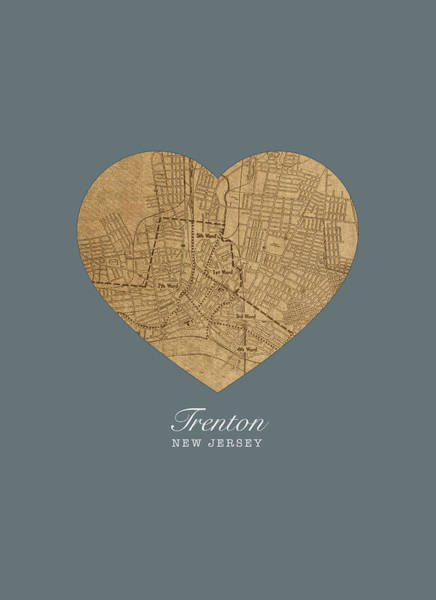 New Jersey Mixed Media - I Heart Trenton New Jersey Vintage City Street Map Love Americana Series No 050 by Design Turnpike