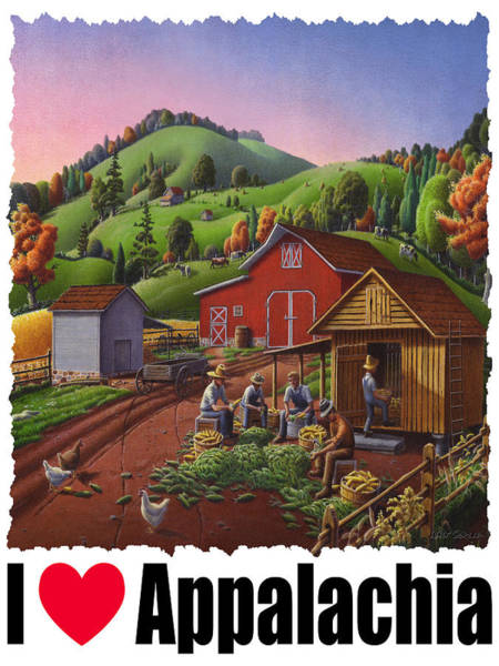 Husk Painting - I Love Appalachia - Farmers Shucking Corn And Storing In Corncrib - Corn Crib by Walt Curlee