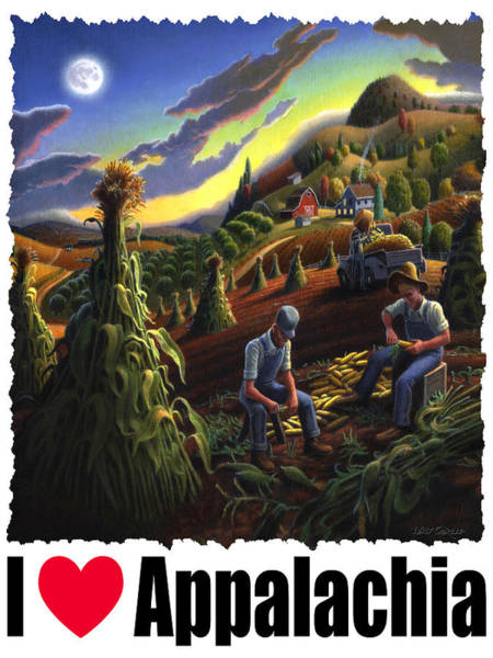 Husk Painting - I Love Appalachia - Farmers Shucking Corn Til Sunset - Rural Farm Landscape by Walt Curlee