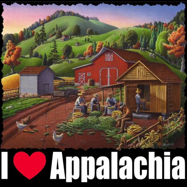 Husk Painting - I Love Appalachia T Shirt - Farmers Shucking Corn And Storing In Corncrib 2 - Corn Crib by Walt Curlee